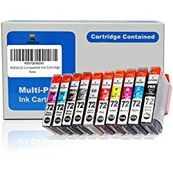 PERSEUS Compatible Cartouche d'encre pour Canon PGI-72 (PBK MBK C M Y PC PM R GY CO), Travailler avec Canon PIXMA Pro-10, Pro-10S Imprimante, PGI72 Pack de 10