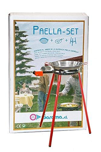 La Ideal Paellagrill Albir - Mit Paellapfanne 36cm, 1-Ring-Gas-Brenner 300 & Dreibein-Ständer