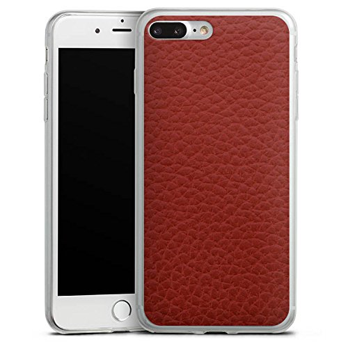 Apple iPhone 8 Plus Slim Case Silikon Hülle Schutzhülle Leder Look Rot Marsala Leather Silikon Slim Case transparent