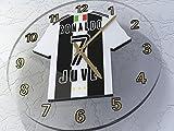 MyShirt123 Cristiano Ronaldo - Juventus F.C. Fußball-Wanduhr mit Fußball-Legen, Limitierte Auflage