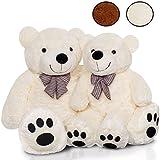 KIDUKU XXL Teddybär | 170 cm | Weiß | mit Schleife | Weiche Füllung | Kuscheltier Kuschelbär Plüschbär Stofftier
