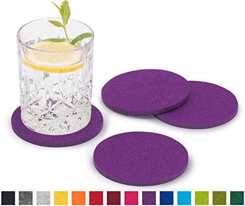 FILU Filzuntersetzer rund 8er Pack einfarbig (Farbe wählbar) violett/lila - Untersetzer aus Filz für Tisch und Bar als Glasuntersetzer/Getränkeuntersetzer für Glas und Gläser - Lila