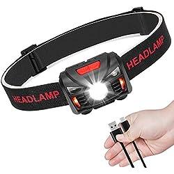 Lampe Frontale Rechargeable USB Phare LED Puissante Torche Frontale avec Détecteur de Mouvement pour Running Pêche Camping Enfant Lecture randonnée