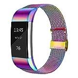 AK Für Fitbit Charge 2 Armband (2 Größen), Metall Mesh Magnetverschluss Edelstahl Ersatzband für Fitbit Charge 2 (Bunt, Small)