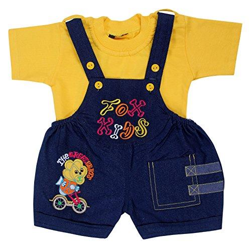Kuchipoo Unisex Babies Cotton T-Shirt & Dungree (KUC-DUN-135-12-18 Months, Yellow and Blue, 12-18 Months)