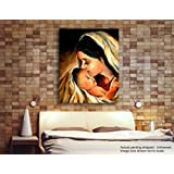 Tamatina Jesus Canvas Paintings - Mother Mary & Baby Jesus - Jesus Wall Paintings - Modern Art Paintings - Jesus Paintings For Wall - Paintings For Home Décor - Paintings For Living Room - Paintings For Bedroom - Religious Paintings - Jesus Can