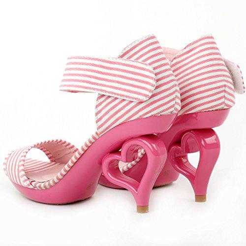 Mostra Story 20 colori dei fiori removibile cinturino alla caviglia sposa sandali scarpe da sposa, SM33101 Striscia bianca rosa