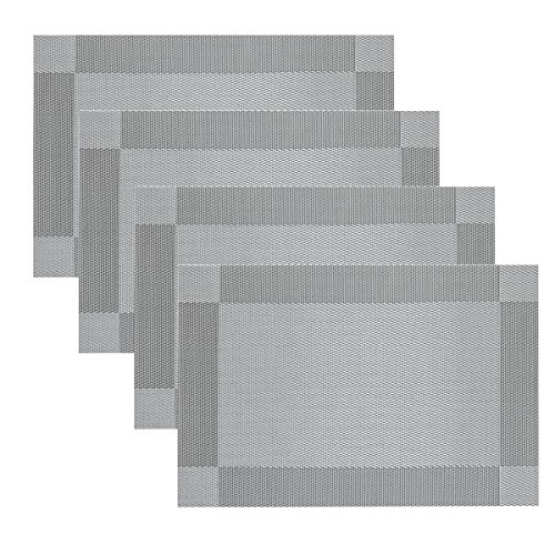 Place Mats Famibay Silver PVC Table Mats Set of 4 Washable Rectangle Fabric Placemats for Table (Silver grey)  sc 1 st  Amazon UK & Table Mats Sets: Amazon.co.uk