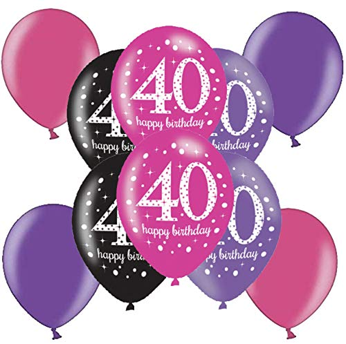 ftballons Deko zum Geburtstag Party Dekoration Metallic Luftballon Lila Pink (40. Geburtstag) ()