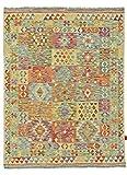Nain Trading Kelim Afghan 203x153 Orientteppich Teppich Grau/Beige Handgewebt Afghanistan