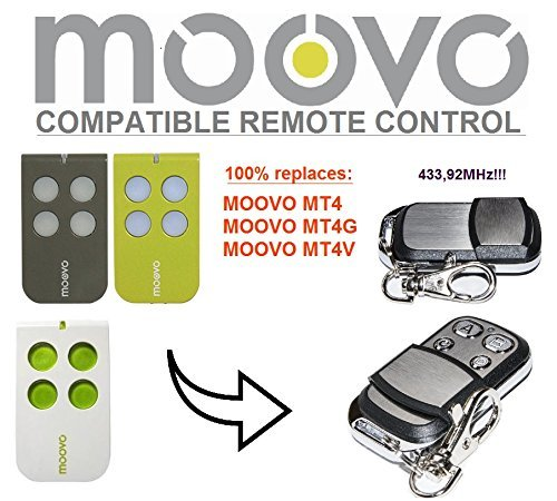 MOOVO MT4 / MOOVO MT4G / MOOVO MT4V Compatible Télécommande. 433.92Mhz rolling code Mhouse replacement remote control