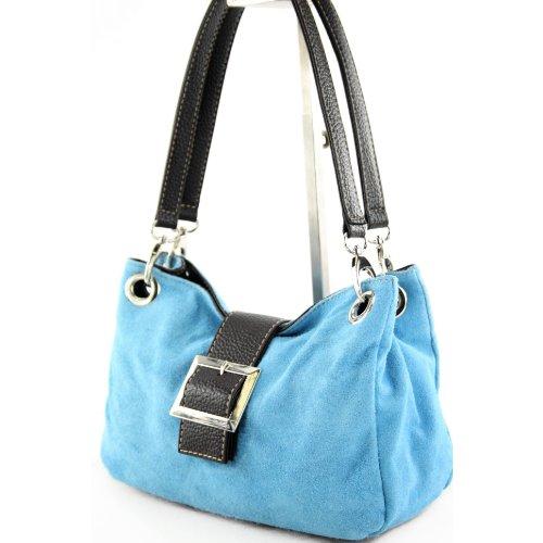 modamoda de - ital. Damentasche Handtasche Tragetasche Henkeltasche Wildleder Klein TL02 Hellblau