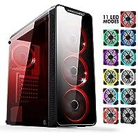 Warmachine EMPIRE GAMING - Case PC Gaming – Midi-Tower ATX - 4 ventole silenziose - LED RGB Dual Ring: retroilluminazione 11 modalità - Pannello frontale e laterale in vetro temperato