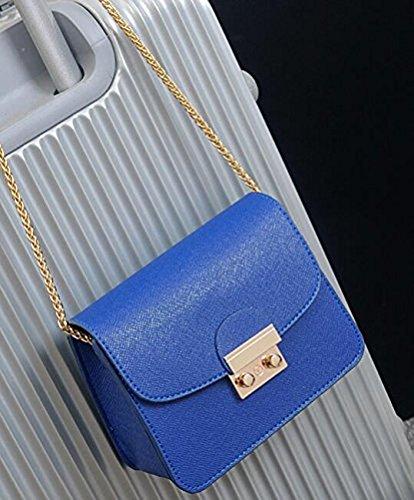 Honyemall Singolo sacchetto di spalla per le donne Crossbody Borsetta PU Impermeabile tracolla lunga / Body Bag Croce Moda con la Catena per Partito / Shopping / Viaggiare nero Blu