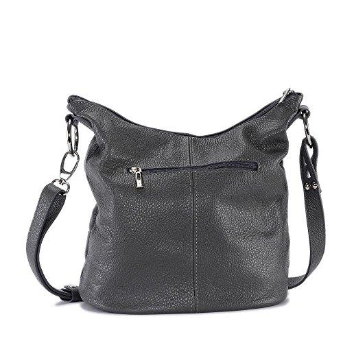 Oh My Bag - Borsetta Da Donna In Pelle - Da Indossare Come Una Spalla - Modello Beaubourg - Pelle Grana Grigio Scuro