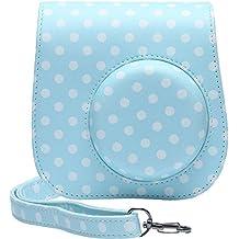 Katia Cámaras instantáneas Caso de cuero de la PU Instax Mini 8 Cámara Bolsa de Fujifilm Instax Mini 8 con correa para el hombro y bolsillo - Azul punto