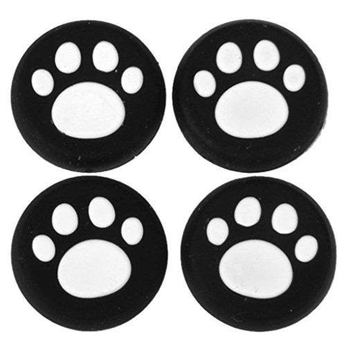 Capas de maneja - SODIAL(R) Capas de maneja de palanca de mando analogico de silicona de patron de patas de gato para controlador de PS4 / Xbox One / PS3 / Xbox 360 de color blanco