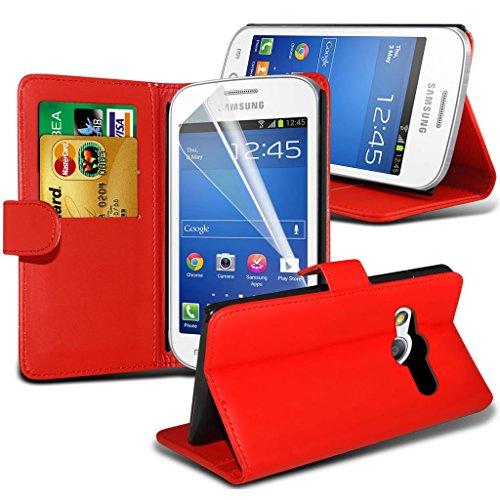 Samsung Galaxy S5 Neo hülle Tasche (Grün + Kopfhörer) Slim-Fit-Abdeckung für Samsung-Galaxie-S5 Neo-hülle Tasche Haltbarer S Linie Wellen-Gel-Kasten-Haut-Abdeckung + mit Aluminium Earbud Kopfhörer, Po Wallet ( Red )