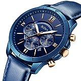 Montre, Montre Homme Affaires Mode Sport Décontractée Élégant Luxe Cuir Chronographe Calendrier Etanche Quartz Bleu