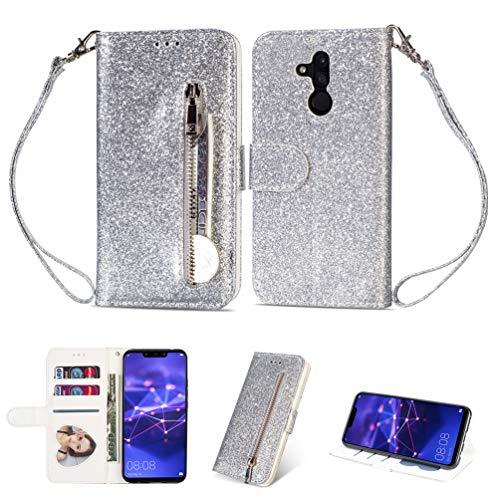 Edauto Kompatibel mit Huawei Mate 20 Lite Hülle Glitzer Rei?Verschluss Handyhülle Flip Case PU Leder Brieftasche Tasche Wallet Schutzhülle Bookstyle Ständer Kartensätze Magnetisch Handyschale SilBär