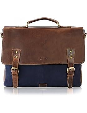 SID & VAIN® Messenger bag JASON - Unisex Umhängetasche XL groß Ledertasche fit für 15.4