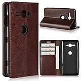 Zouzt Sony Xperia XZ2 Compact caso, copertina del libro di design in pelle Folio Flip portafoglio caso con cavalletto funzionalità & Card Slots/Cash comparto(Marrone scuro)