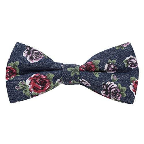 DonDon Noeud papillon dans le design des jeans en coton pour homme 12 x 6 cm avec crochet déjà lié et réglable bleu foncé avec des fleurs