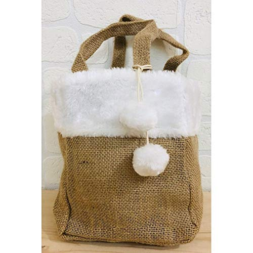 Publilancio srl borsa shopper in juta con ecopelliccia avorio 15x10x20 cm