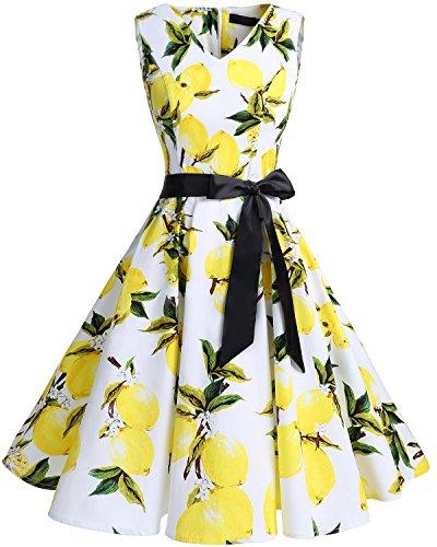 bridesmay Damen Vintage 1950er Rockabilly Ärmellos Retro Cocktailkleid Partykleid White Lemon S