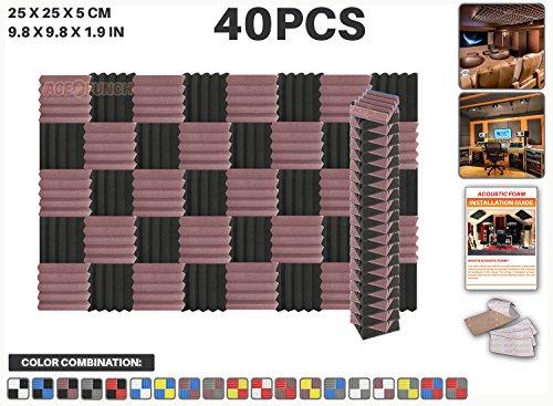 ace-punch-40-pieces-bourgogne-et-noir-wedge-studio-foam-panel-isolation-sonore-traitement-acoustique