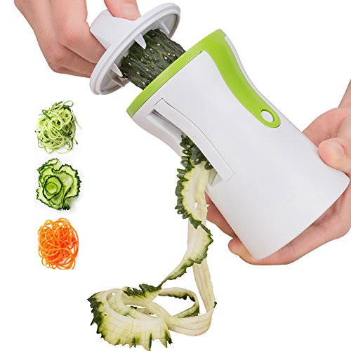 Coquimbo Cortador de Verduras, para hacer espaguetis de verduras y patatas, cortador de pepinos, rallador de zanahorias, rallador de verdura, Utensilios de Cocina en forma de Espirales para Platos Sanos y Creativos