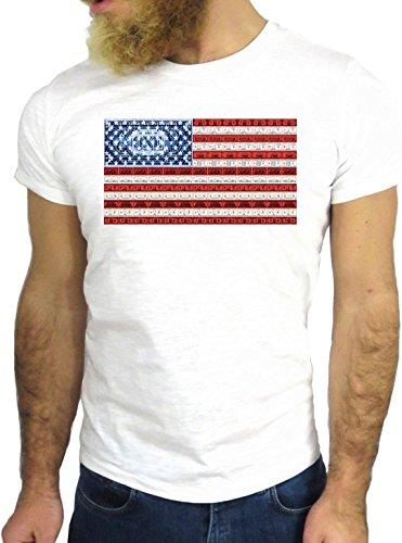 T-SHIRT JODE GGG24 Z1637 AMERICA US FLAG FASHION ENJOY COLORS GREAT COOL NEW YORK BIANCA - WHITE
