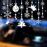 Tuopuda® Copos de Nieve y Pelota Decoración Navidad Pegatina Calcomanía de Ventana Vidrio Pared Puerta Vinilos Decorativos Autoadhesivo para Escaparate Tienda Hogar Moderno (ángel)