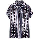 Lazzboy Uomo Camicia Top Multicolor Stripes/Color Block Plus Size Graffiti Manica Corta Bottoni Larghi Largo Bluse(L,Marina Militare-Etnico Ⅱ)