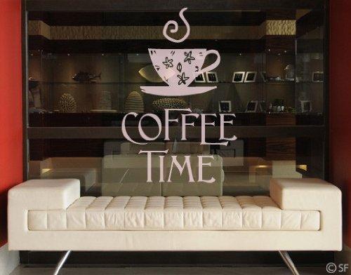 51 Coffee Time 1 Kaffee Küche Schrift Zeit Tasse | Glasdekorfolie selbstklebend Milchglasfolie 5 Farben Fensterfolie Klebefolie Glasdekorfolie Sichtschutz Blickschutz Milchglas Fenster Bad Farbe: Frosted; Größe: 61cm x 39cm (Milchglas-tassen)