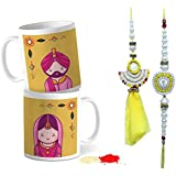 Tied Ribbons Rakhi For Bhaiya Bhabhi Set Ethnic Rajasthani Lumba Rakhi For Bhaiya Bhabhi With Set Of 2 Printed Coffee Mug, Roli Chawal - Rakhi Gifts For Bhabhi And Bhaiya