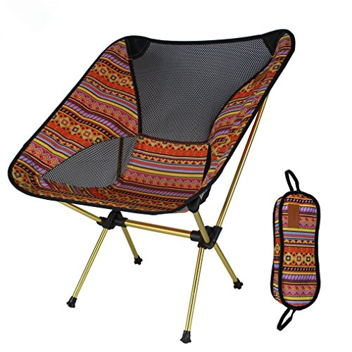 MUTANG Alliage d'aluminium extérieur Pliant Chaise Ultra léger Portable Lune Chaise Plage Camping pêche Casual Peinture Chaise Jaune Rouge Orange Brun (Couleur : Orange)