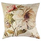 Dekorativer Kissenbezug mit Blumenmuster, 43cm x 43cm, mit Rosenmotiv, Baumwolle/Leinen, quadratisch, Sofadekoration, schöne Schutzhülle für Kissen 2