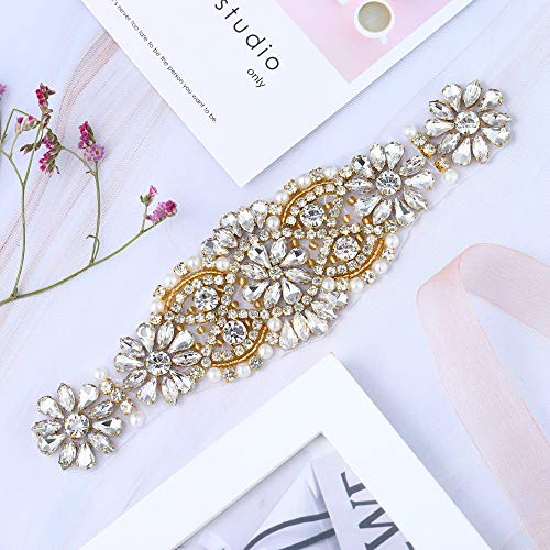 067 Cinturón de Novia, Wedding Crystal Sash, Rhinestone boda Sash, Cinturón de Boda de Cristal (Gold) (Tanz Kostüm Funkeln)