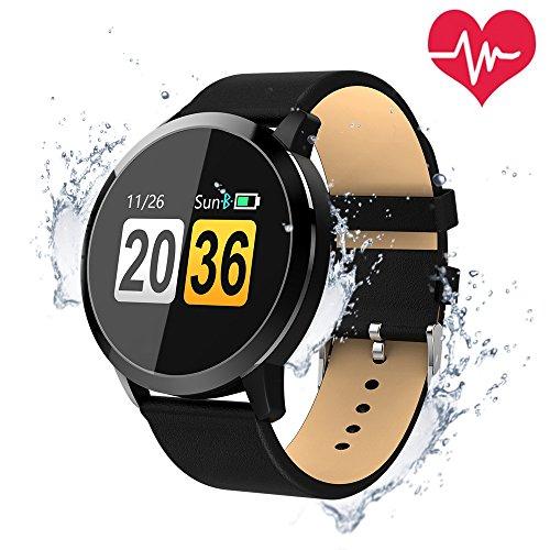 Smartwatch Bluetooth Wasserdicht, OUKITEL W1 Intelligente Armbanduhr Fitness Tracker Armbänder Herzfrequenz / Blutdruck / Schlaf Monitor / Spiel und Trinkwasser-Erinnerung Touchscreen Lange Standby-Zeit Kompatibel mit iOS und Android Handy (Schwarz)