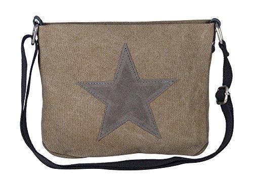 Moderne Canvas Style Umhängetasche - aufgenähter grauer Stern - Vernietung an der Seite -- Maße 27 x 21 x 5 cm /ohne Schulterriemen) - Damen Mädchen Teenager Tasche Khaki