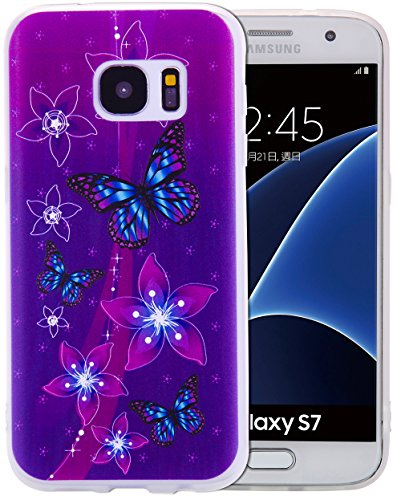 Preisvergleich Produktbild S7 Hülle, Samsung Galaxy S7 SchutzHülle Case, Samsung Galaxy S7 Hülle, Roreikes Malen TPU Durchsichtig Backcover Handyhülle SchutzHülle Kratzfest Transparent Geprägte Matte Muster kratzfest Design Handycover Tasche (5, 1Zoll)