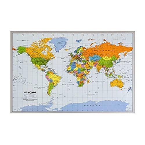 World map pin board amazon cork pin board with world map in french 90 x 60 cm gumiabroncs Gallery