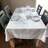 ZOLLNER Damast Tischdecke, 140x240 cm, Baumwolle, Atlaskante, eckig, weiß - 5