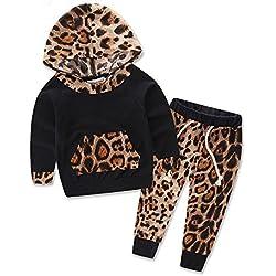 YanHoo Conjuntos de Ropa para bebés niño Traje de otoño e Invierno Juego de niños de Manga Larga con Estampado de Leopardo de Manga Larga, Top + Pantalones Conjunto de Trajes
