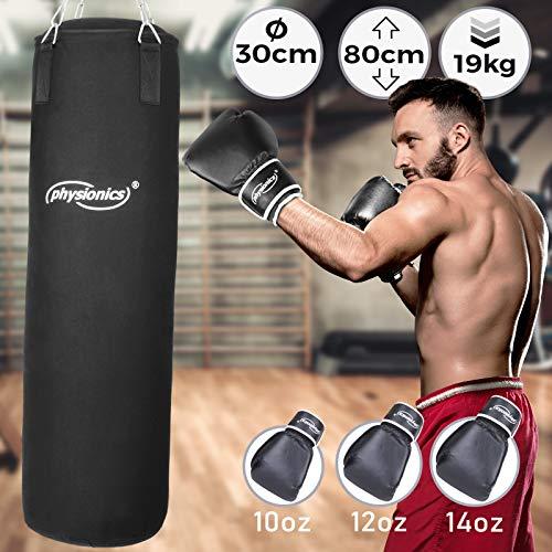 Boxsack Set | inkl. Boxsack gefüllt 19 kg, 30/80 cm, Boxhandschuhe Großenwahl (10, 12, 14 oz), mit Stahlketten und Karabinerhaken | Punching Bag für Kickboxen, MMA, Muay Thai, Kampfsport (14 oz)