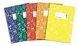 Herma 20211 Heftumschläge A4 Schoolydoo, Kunststoff, Set mit 5 Stück, je 1 Heftschoner blau, rot, grün, gelb, orange, mit Motiv, für Schulhefte