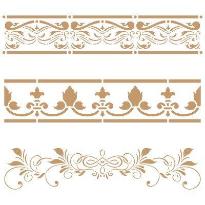 Stencil Bordüre Deco 053Drei Blumen. Maße ca.: Aussenmaß des Stencil 20x 20cm Maßnahme des Design: 18,3x 16cm Maßnahme der Figur 1: 18,3x 3,5cm Maßnahme der Figur 2: 18x 4cm