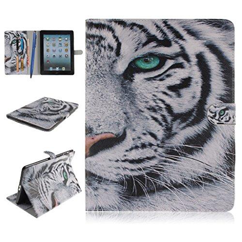 iPad 2/3/4 Funda,Careynoce Atrapasueños León Tigre Pattern Flip PU Cuero Carcasas Funda Case Cover para Apple iPad 2 iPad 3 iPad 4 (9.7 pulgada) - Blanco Tigre