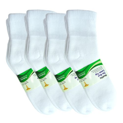 Basico Physicians Diabetic Circulatory Loos Top 12pairs Socks Crew White by Basico